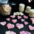 Heart shaped cookies on a table.