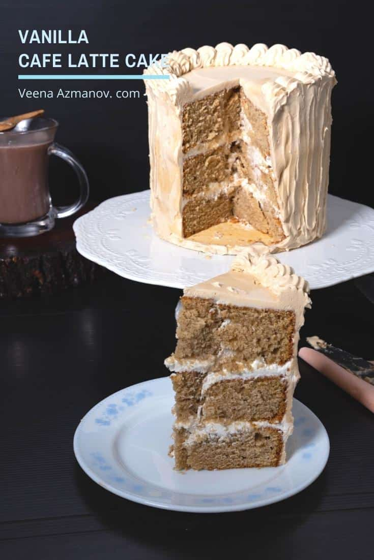 A flavored coffee Layer Cake also know as Vanilla Cafe Latte Cake uses Cafe Late beverage for flavor and frosted with coffee buttercream to make a perfect coffee cake #cafelatte #cafe #latte #layercake #layer #cake #coffee #veenaazmanov via @Veenaazmanov