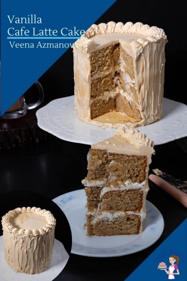 A slice of a layer cake with buttercream frosting on a plate.