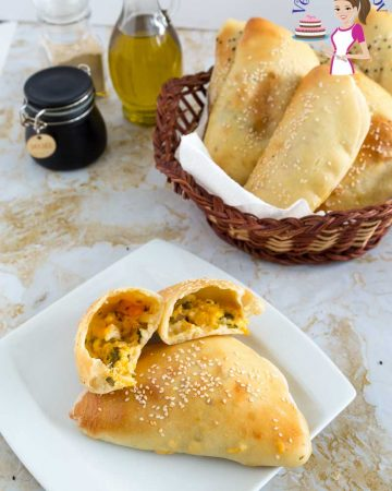 A plate with cheese-stuffed pita bread.