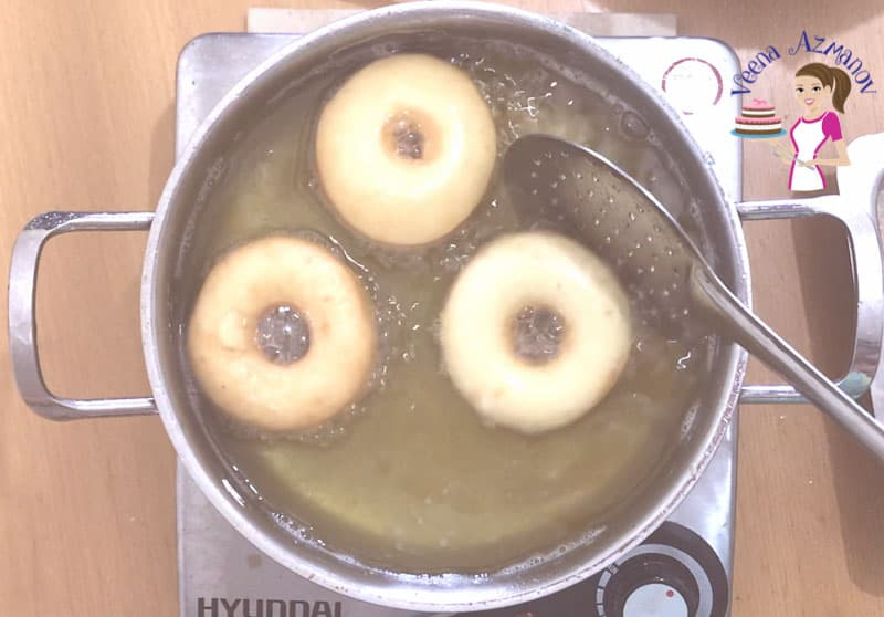 Progress Pictures for homemade doughnuts Deep frying the donuts