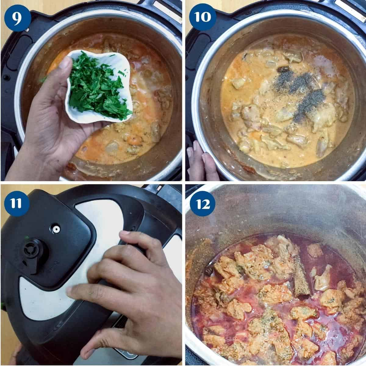 Progress pictures collage making curry in the instant pot.