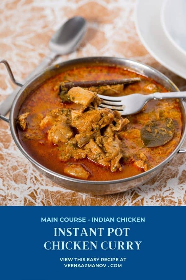 Chicken curry in instant pot or pressure cooker.