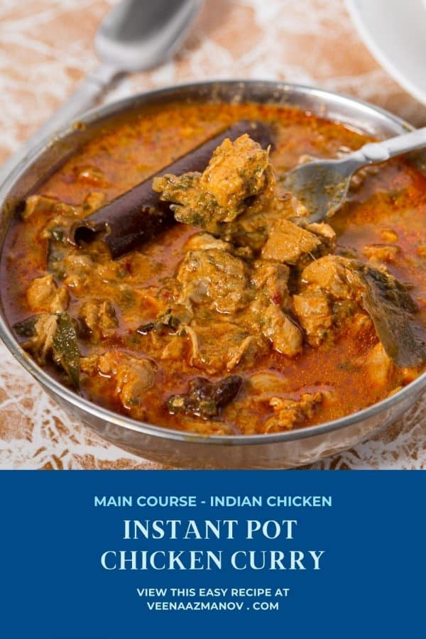 Pinterest image for chicken curry in instant pot.