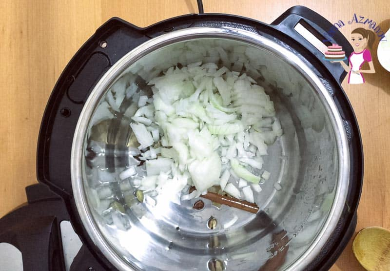Saute onions in the Instant Pot for Curry