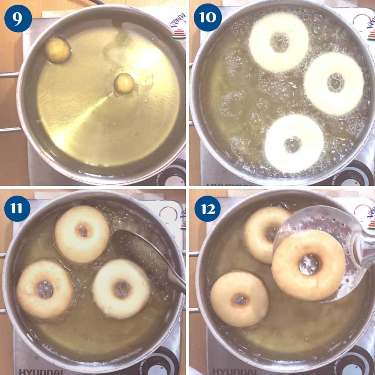 Progress pictures deep frying the donuts.