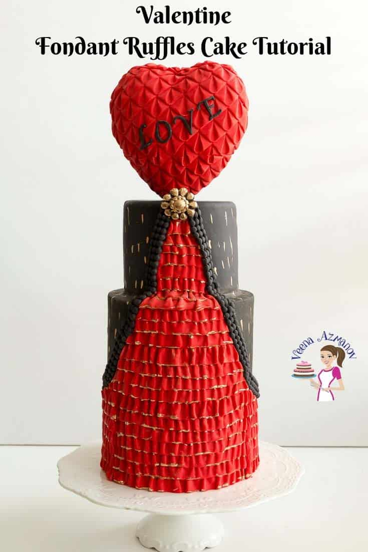 Fondant Ruffles cake tutorial for Valentine's Day