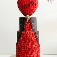 Valentine Fondant Ruffles Cake