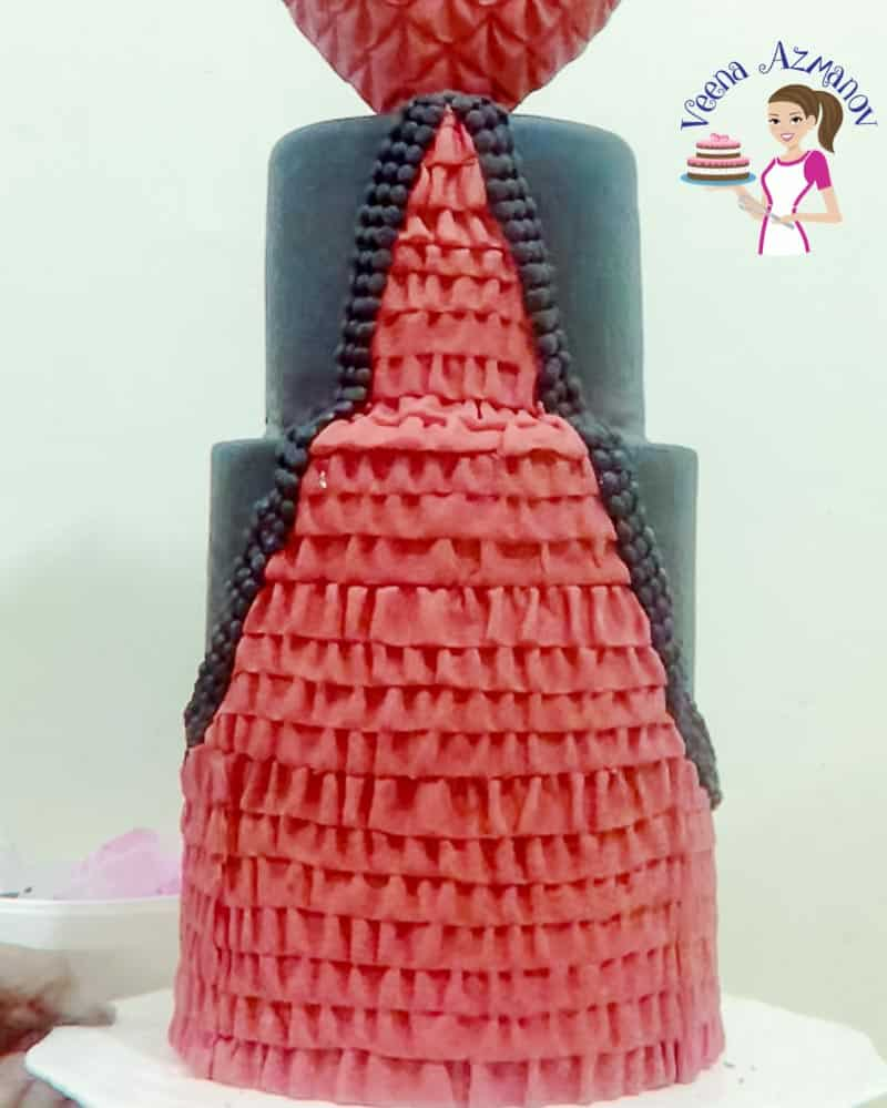 Easy Fondant Dress Ruffles - Cake Tutorial by Veena Azmanov
