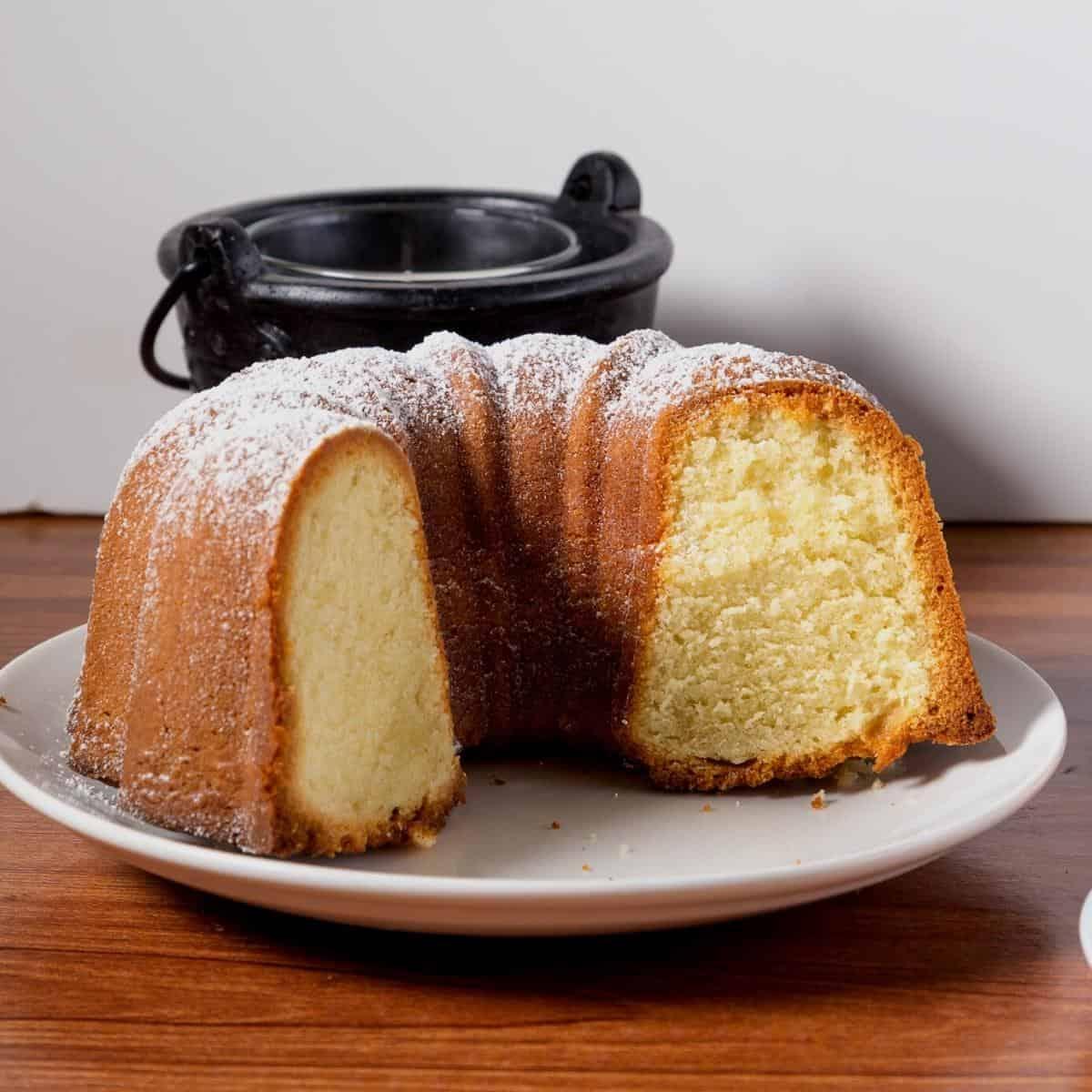 a bundt cake on a plate.