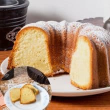Vanilla Bundt Cake on a plate with with sliced cakes.