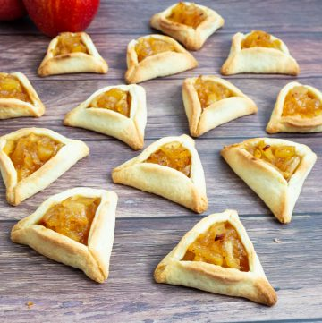 Hamantaschen cookies on a table