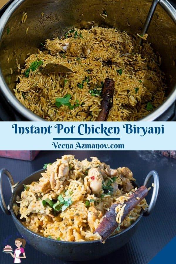 Pinterest image for biryani in instant pot.