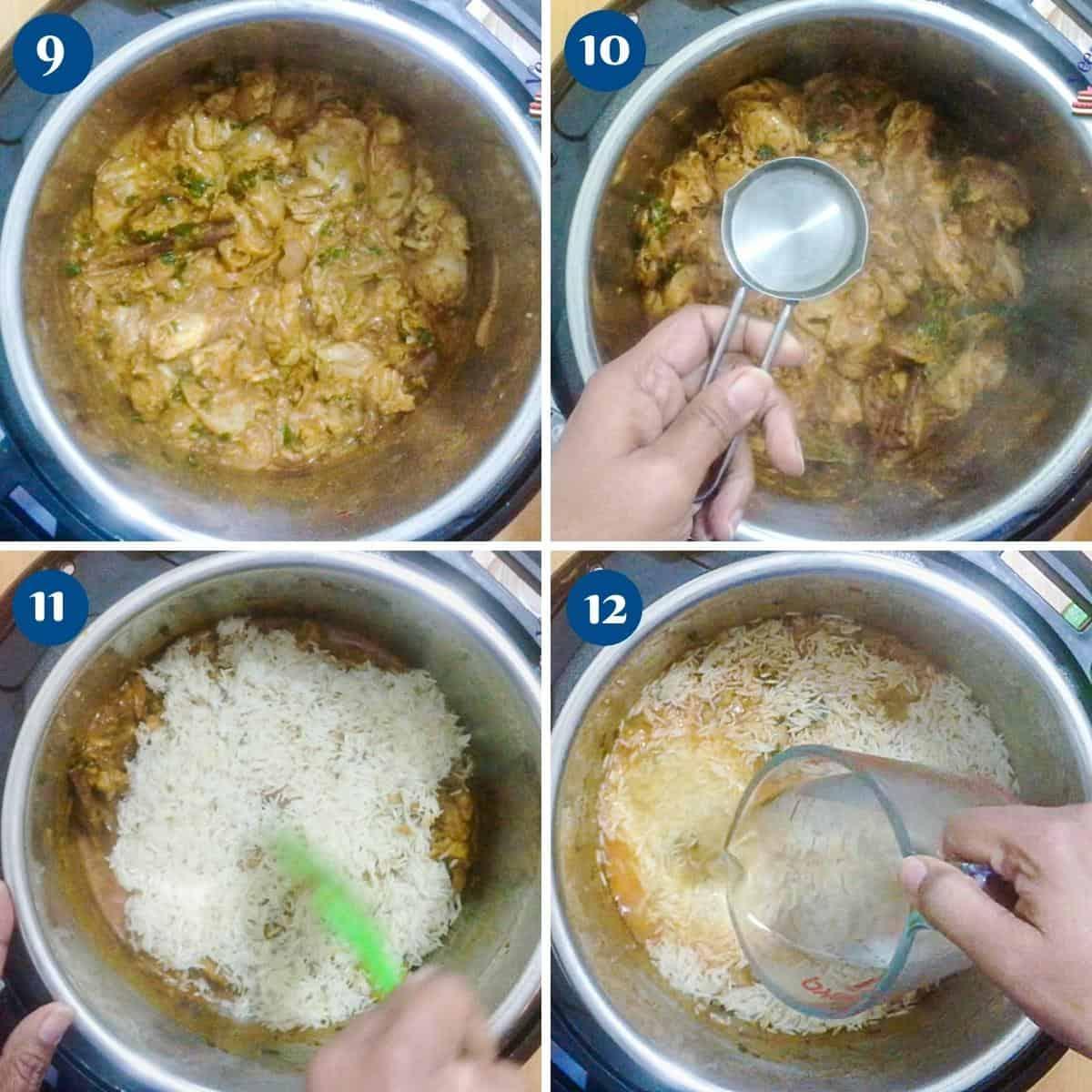 Progress pictures cooking chicken in instant pot for biryani.