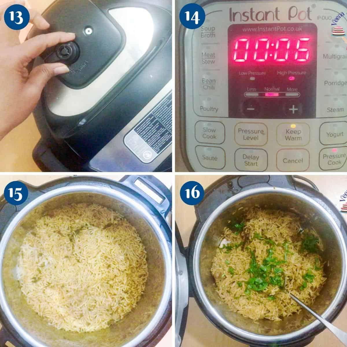 Progress pictures pressure cook biryani in instant pot.