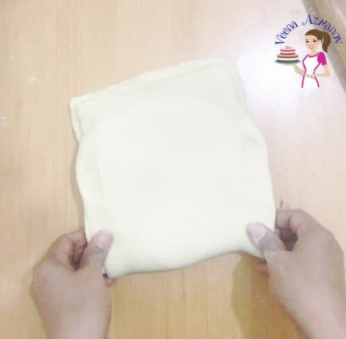 Progress Pictures Easy puffpastry dough - folding in the butter block or beurrage