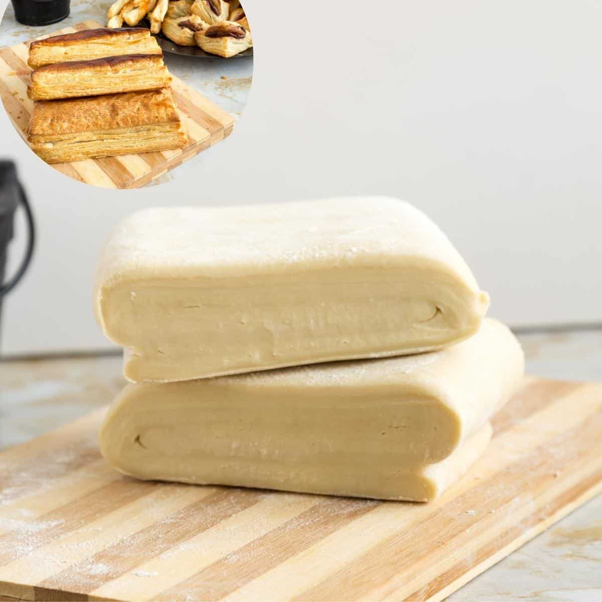 Puff pastry on a wooden board.