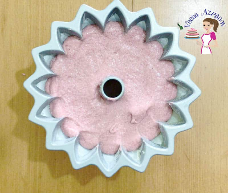 Progress Pictures - Strawberry bundt cake ready for baking.