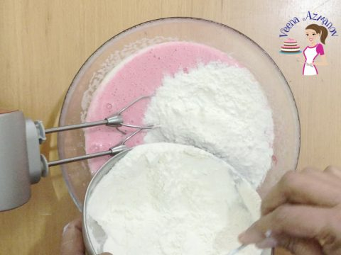 Progress pictures - Adding flour to the strawberry cake