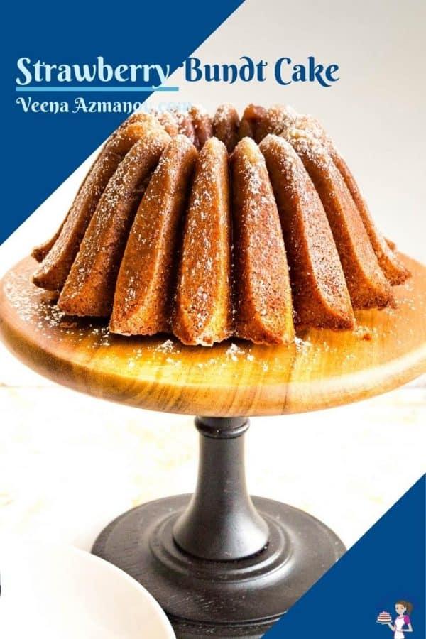 Pinterest image for bundt strawberry cake