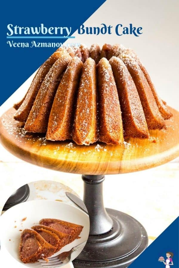 Pinterest image for strawberry bundt cake