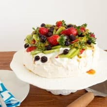 Pavlova on a cake stand.