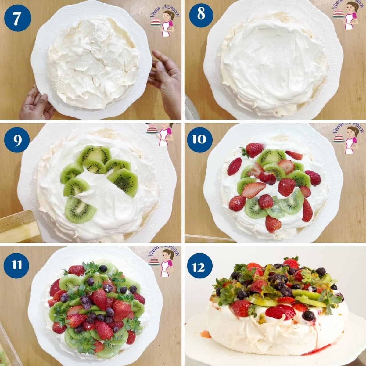 Progress pictures collage how to make pavlova.
