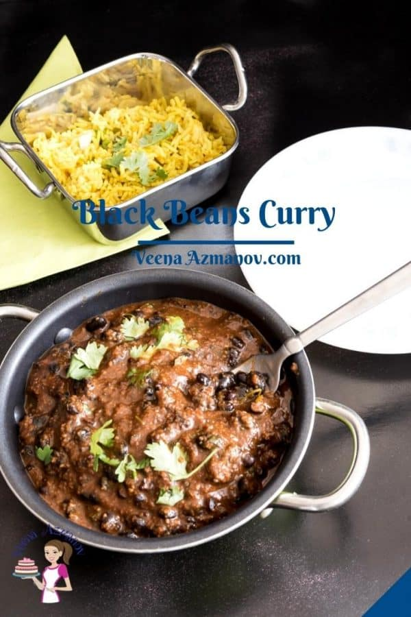 Pinterest image for black beans curry.