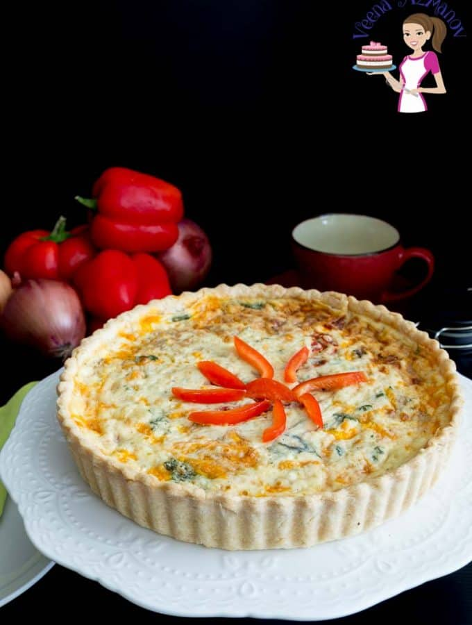 Perfect Quiche with Caramelized Onions, Roasted Red Peppers and homemade pie crust