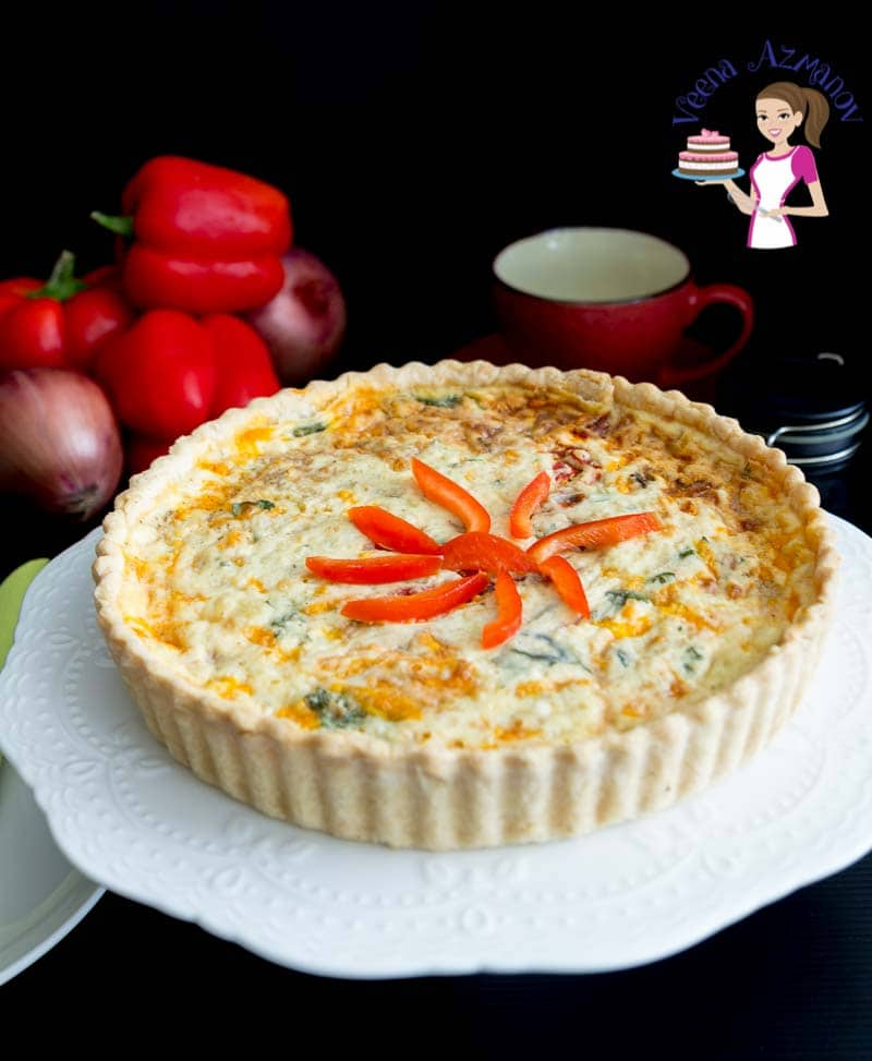 Red peppers quiche on a cake stand.