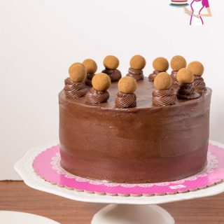 A chocolate cake sitting on top of a cake stand.