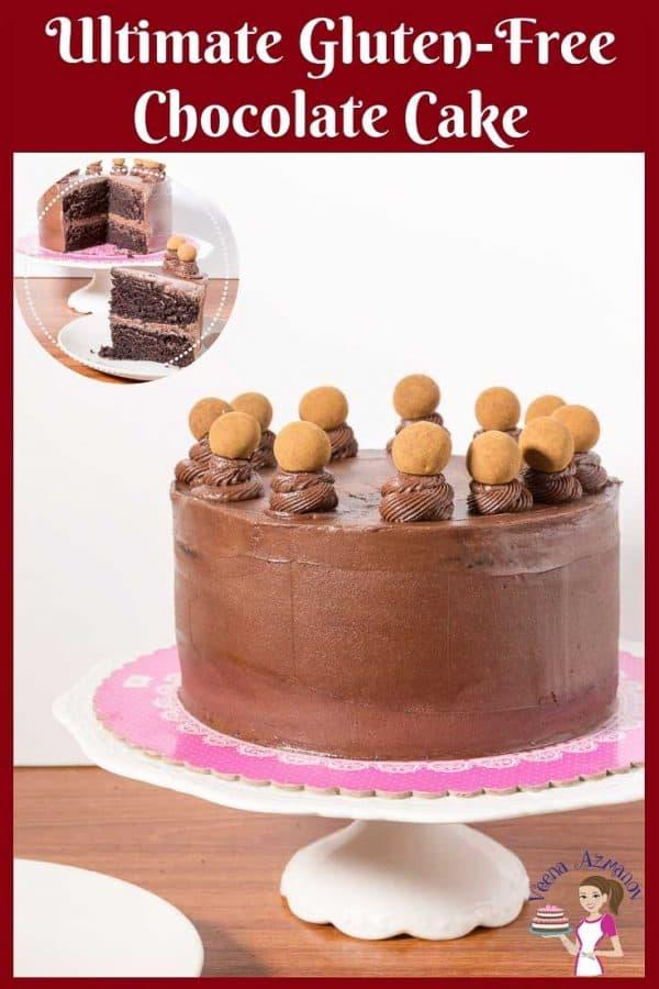 A chocolate cake on a cake stand.