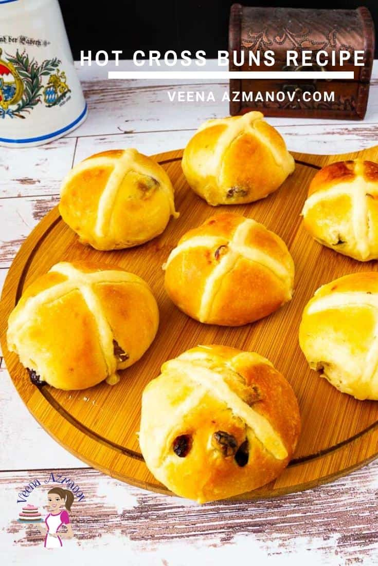Homemade Easter Buns with a Hot Cross etched with dough