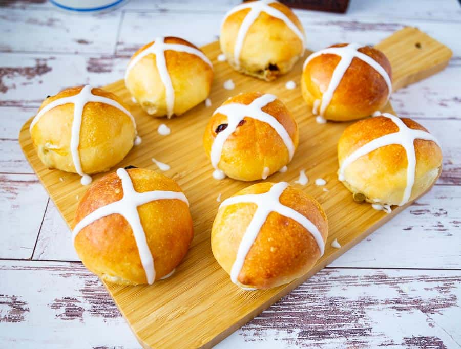 Easter Buns with hot cross made with flour cross just before baking