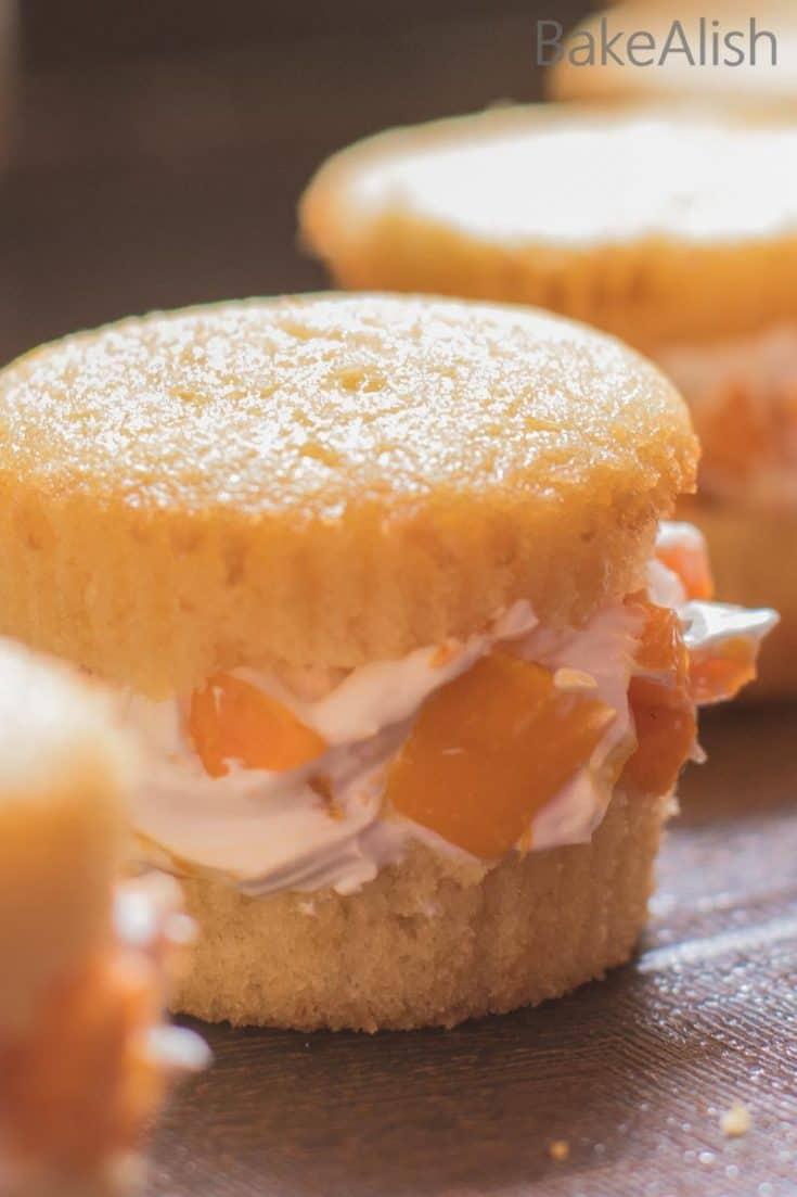 Mango Cream Cupcake Sandwiches - Light And Fluffy Cupcakes
