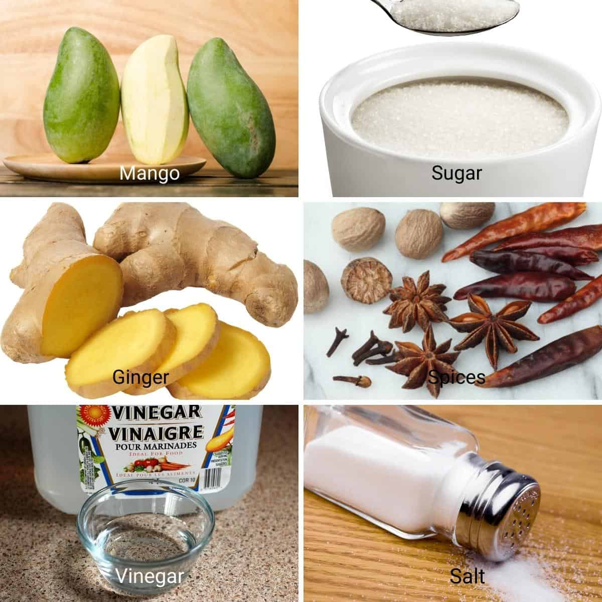 ingredients for a sweet mango chutney.