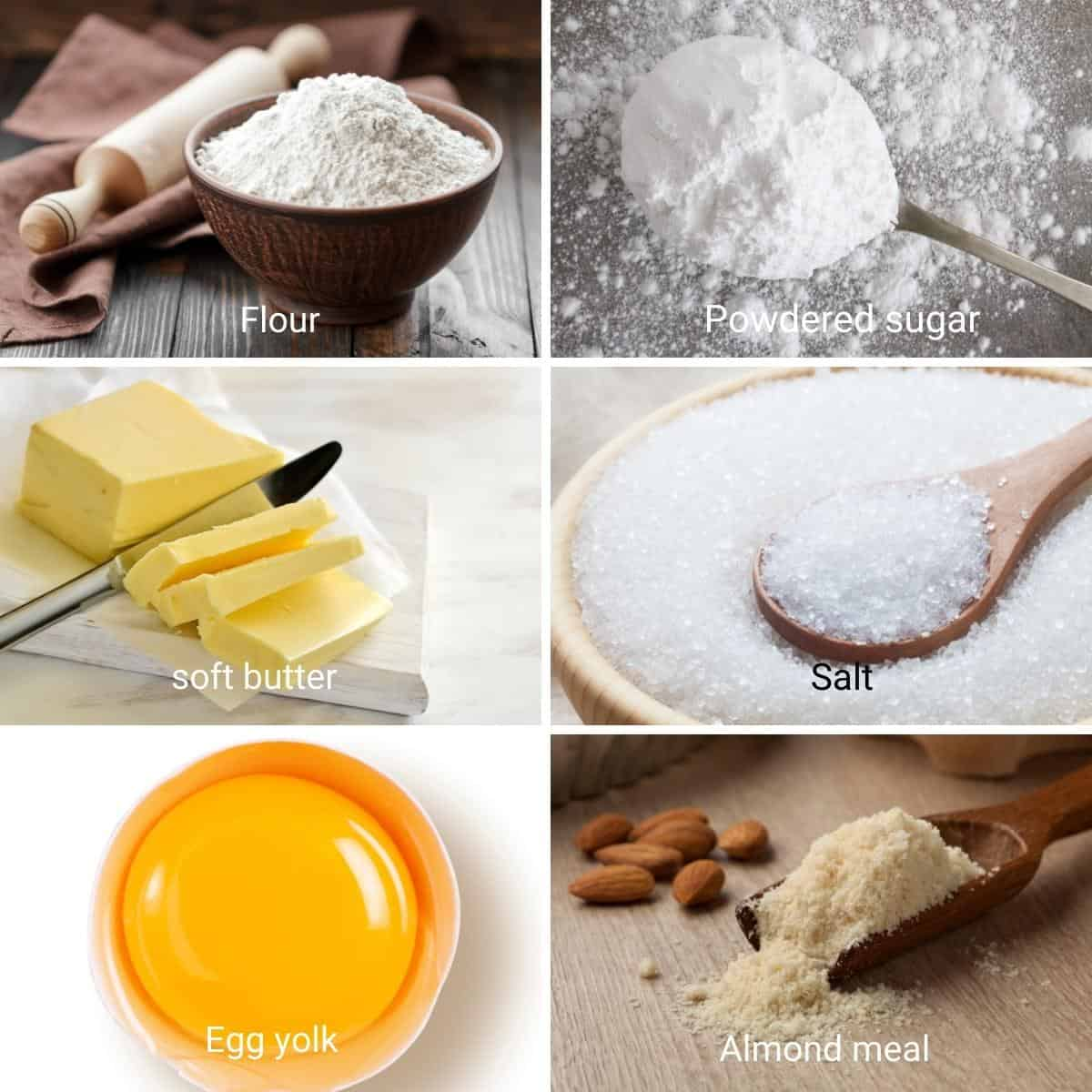 Ingredients for making a rich shortcrust pastry.