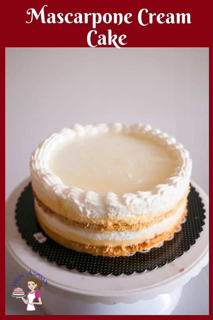 Make the perfect entremet dessert with this mascarpone cream cake with layers of pastry cream, mascarpone cream and whipped cream over a light sponge cake #mascarpone #cake #entremet #dessert #genoise via @Veenaazmanov