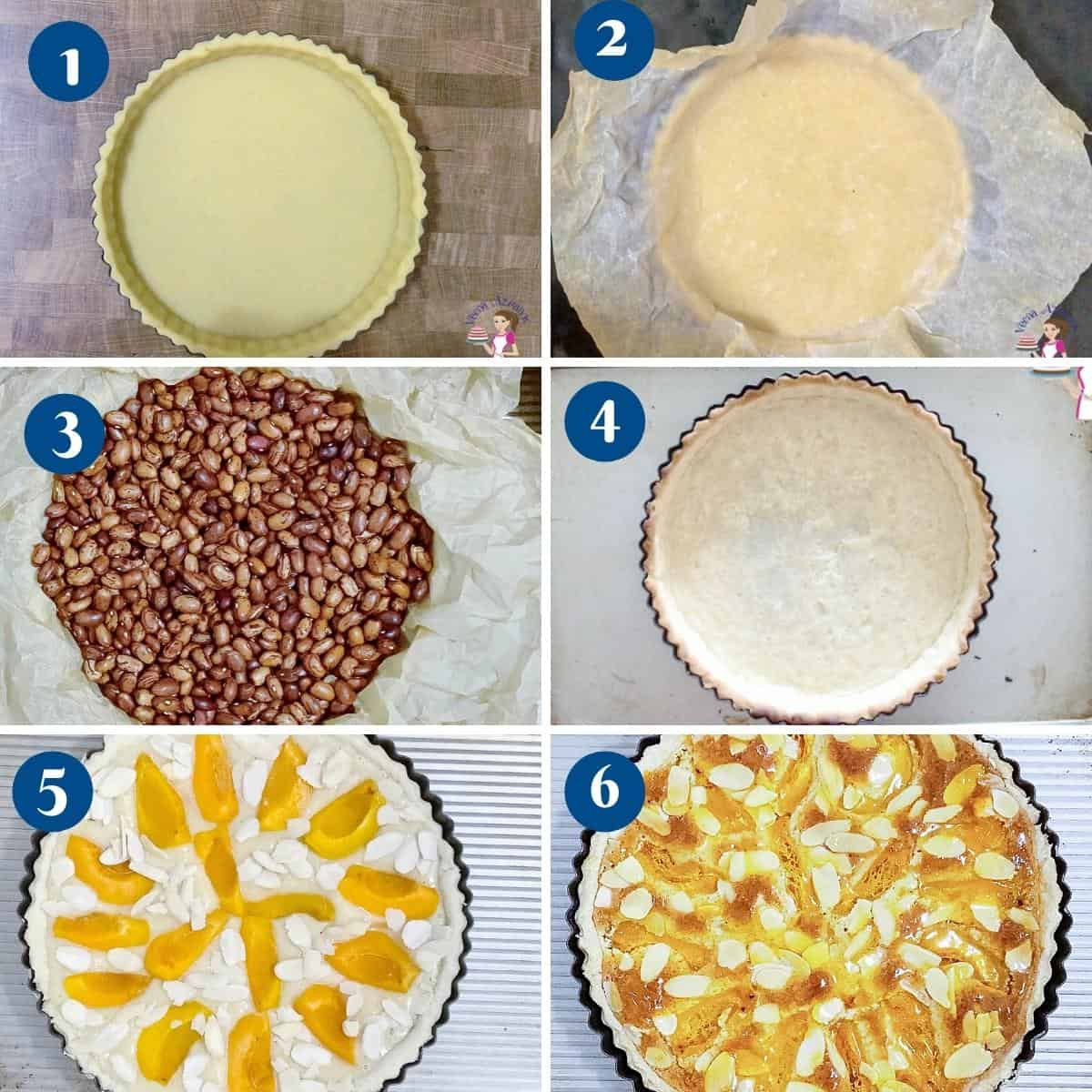 Progress pictures collage how to partially bake a tart shortcrust pastry.