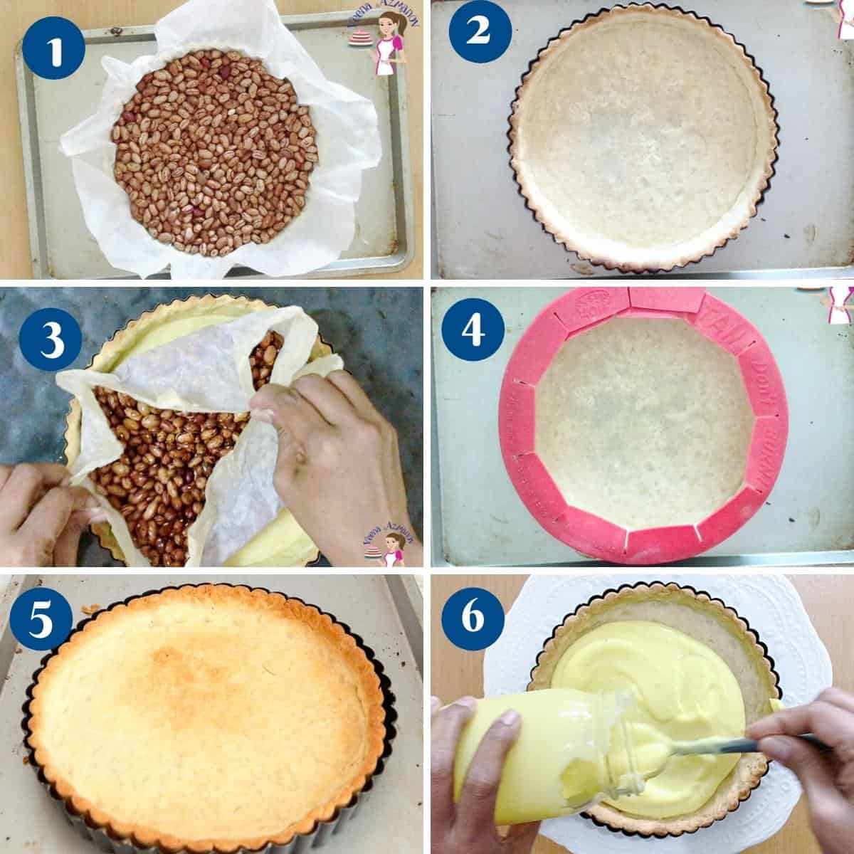 Progress pictures how t o fully bake a rich shortcrust pastry.