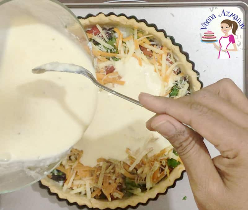 Perfect Quiche with Caramelized red Onions, Roasted Peppers and homemade pie crust