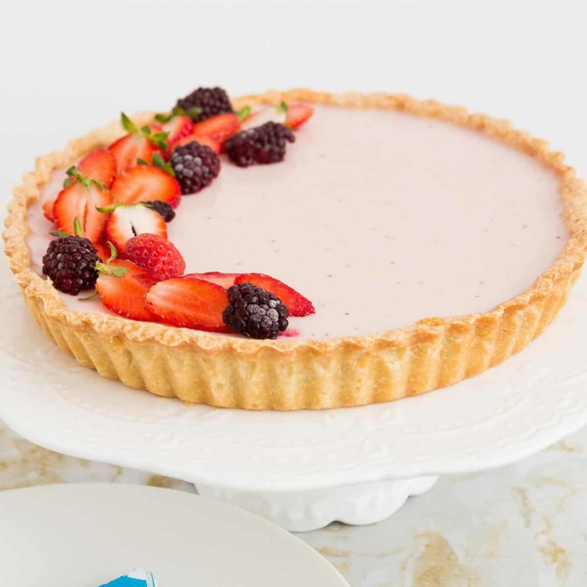 A tart with panna cotta made using strawberries