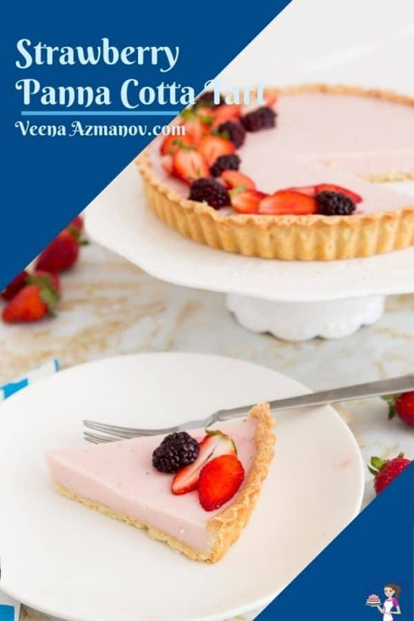 Pinterest image for panna cotta tart