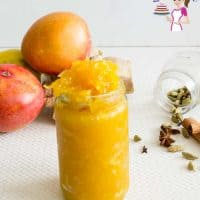 Mango chutney in a jar.