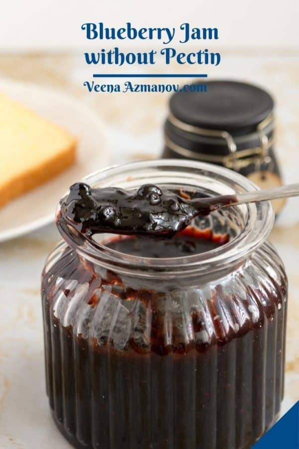 Pinterest image for blueberry jam no pectin.