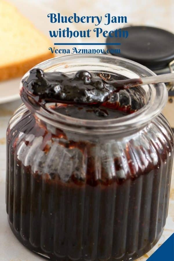 Pinterest image with blueberry jam without pectin.