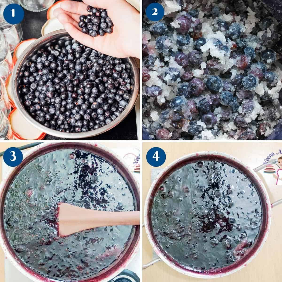 Progress pictures collage making jam with blueberries.