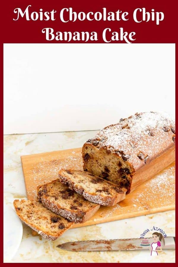 A sliced chocolate chips banana bread on a cutting board.