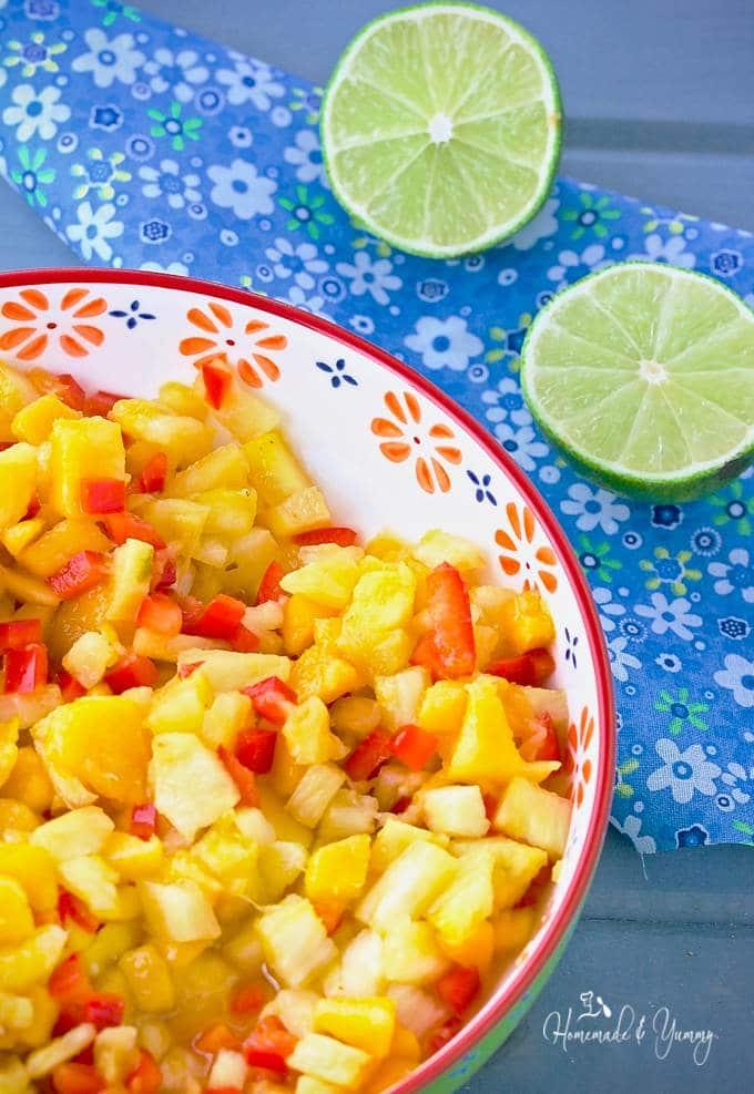 Fresh Pineapple Mango Tropical Salsa with Rum
