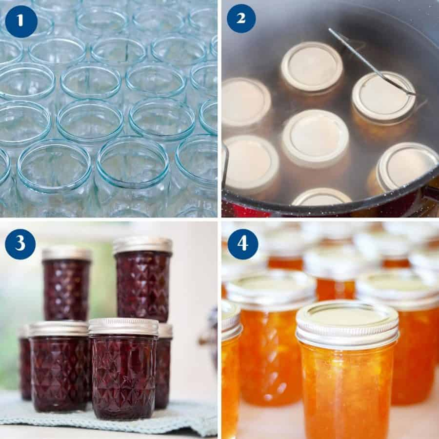 Progress pictures collage for jam preserves jelly canning progress